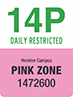 Traffic sign showing text 14P daily restricted, St Lucia campus, Pink Zone, 1472600