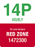Traffic sign showing text 14P hourly, St Lucia campus, Red Zone, 1472300