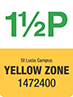 Traffic sign showing text 1 1/2P, St Lucia campus, Yellow Zone, 1472400