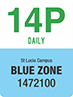 Traffic sign showing text 14P Daily, St Lucia campus, Blue Zone 1472100